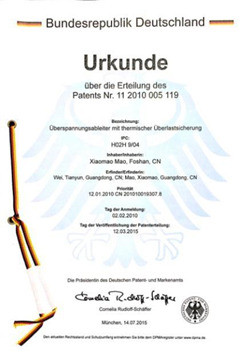 prosurge germany patent for surge protection device